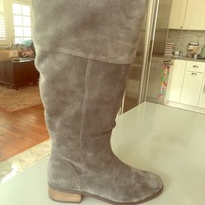 Sole Society Grey Suede Riding Boots